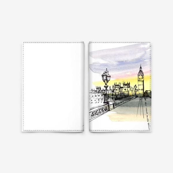 Обложка для паспорта «Лондон, Биг-Бен / 2. Акварель и тушь»