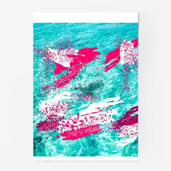 Постер «Кит в море графика_Graphic whale in the sea»