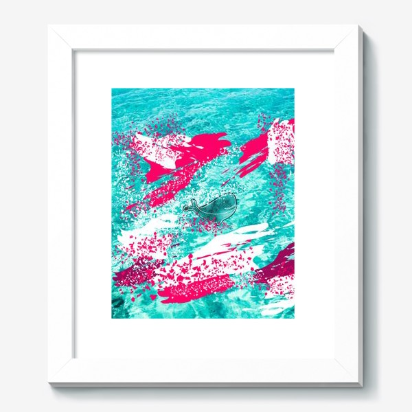 Картина «Кит в море графика_Graphic whale in the sea»