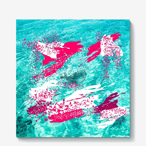 Холст «Кит в море графика_Graphic whale in the sea»