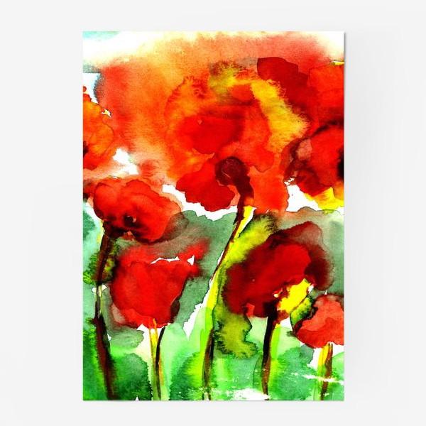 Постер «Поле маков. Акварель poppy poppies watercolor»