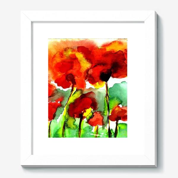 Картина «Поле маков. Акварель poppy poppies watercolor»
