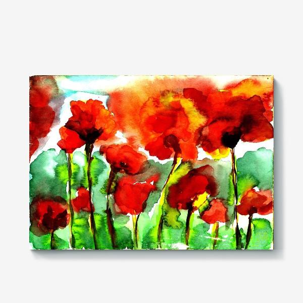 Холст «Поле маков. Акварель poppy poppies watercolor»