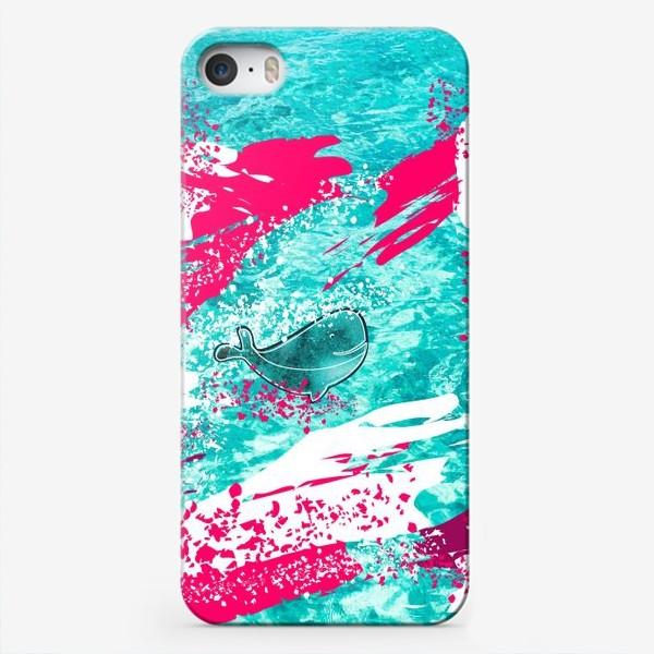 Чехол iPhone «Кит в море графика_Graphic whale in the sea»