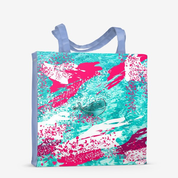 Сумка-шоппер «Кит в море графика_Graphic whale in the sea»