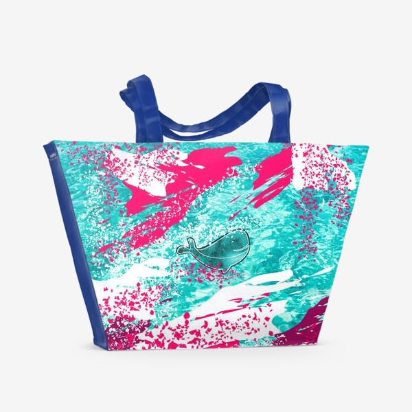 Пляжная сумка «Кит в море графика_Graphic whale in the sea»