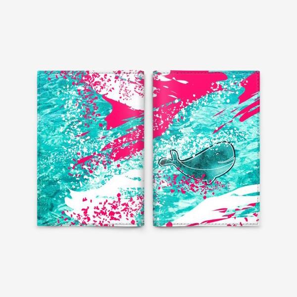 Обложка для паспорта «Кит в море графика_Graphic whale in the sea»