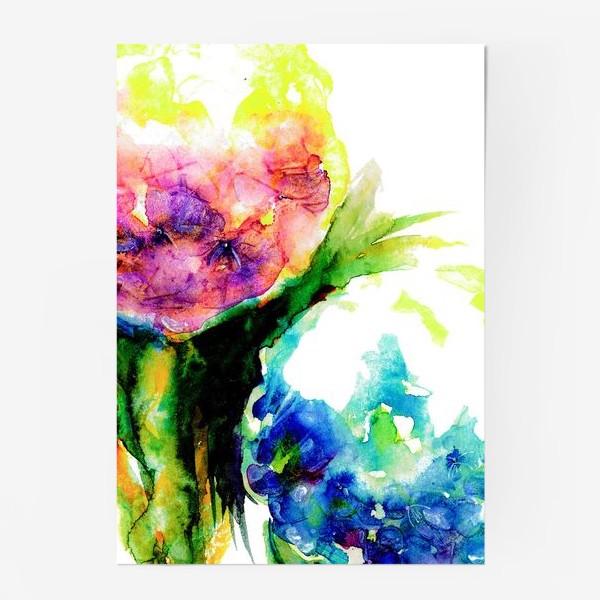 Постер «Гортензии с листьями. Акварель. Hydrangea watercolor »