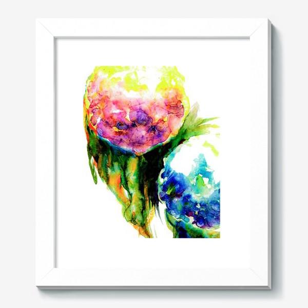 Картина «Гортензии с листьями. Акварель. Hydrangea watercolor »