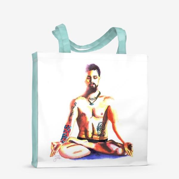 Сумка-шоппер «Медитация в позе лотоса. Акварель. Йога Тату  joga tatoo  »