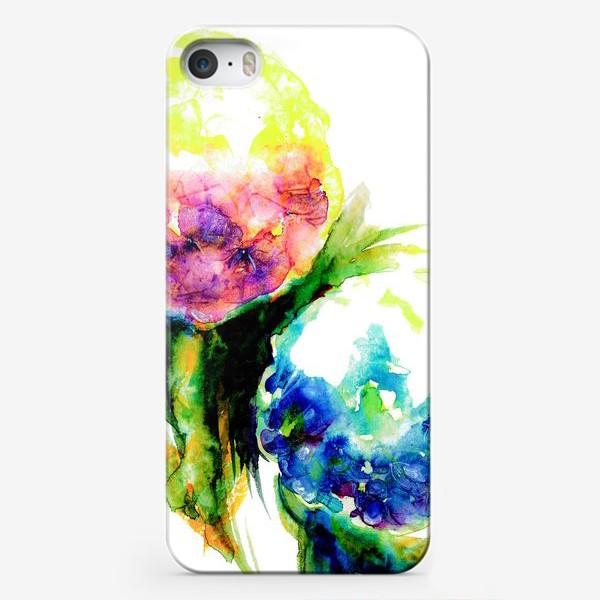 Чехол iPhone «Гортензии с листьями. Акварель. Hydrangea watercolor »
