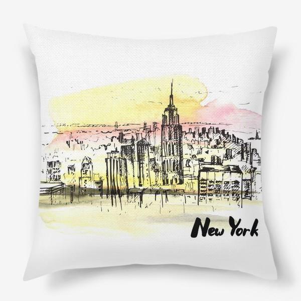 Подушка «Нью-Йорк. Акварель и тушь»