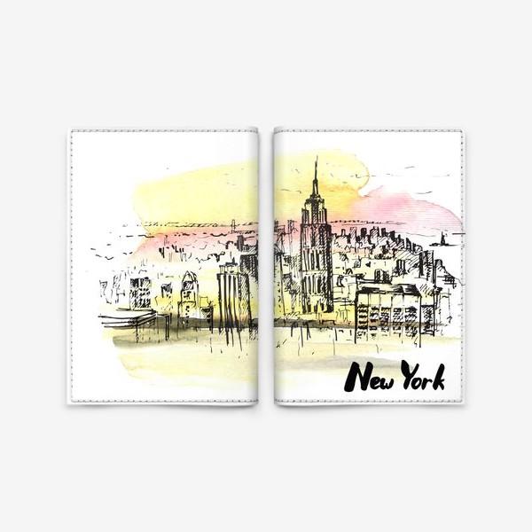 Обложка для паспорта «Нью-Йорк. Акварель и тушь»