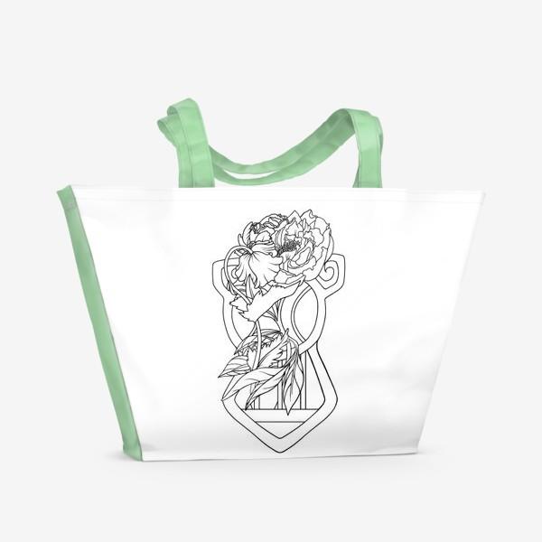Пляжная сумка «Мак и пион Одно целое Модерн Ар нуво Лайн»