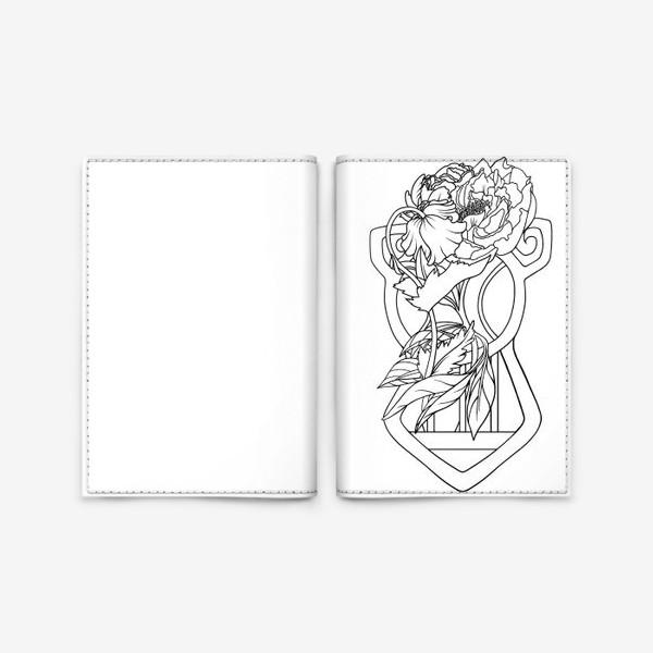 Обложка для паспорта «Мак и пион Одно целое Модерн Ар нуво Лайн»