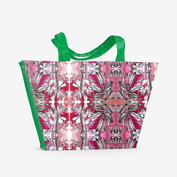 Пляжная сумка «Розовые листья»