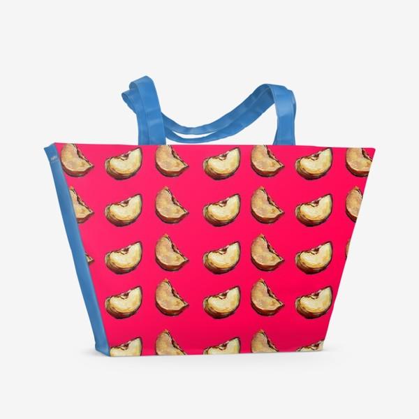 Пляжная сумка «яблоко паттерн розовый»