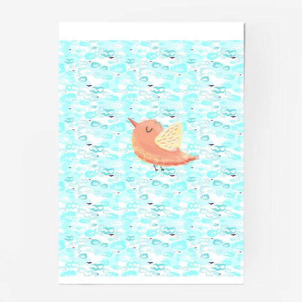 Постер «Птичка в облаках небо_Bird_sky_cloud»