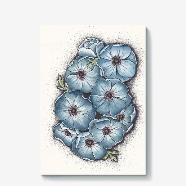 Холст «Синие анемоны»