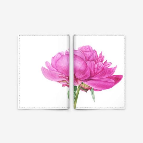 Обложка для паспорта «Яркий розовый пион»