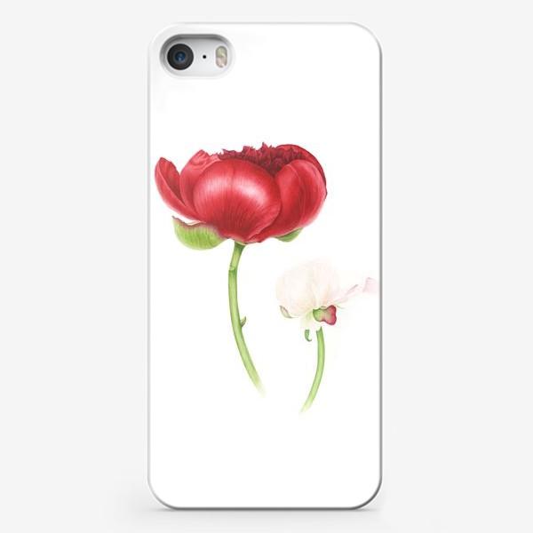 Чехол iPhone «Красный и белый пионы»