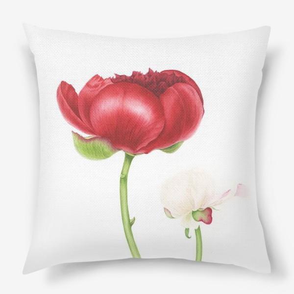 Подушка «Красный и белый пионы»