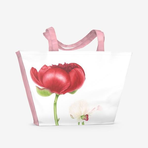 Пляжная сумка «Красный и белый пионы»