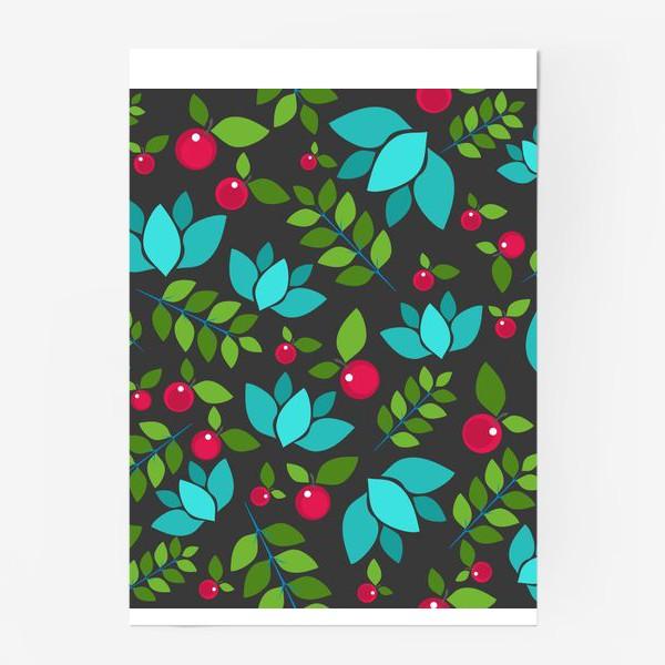 Постер «Цветочно-ягодный узор»