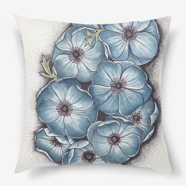 Подушка «Синие анемоны»