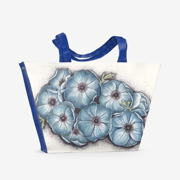 Пляжная сумка «Синие анемоны»