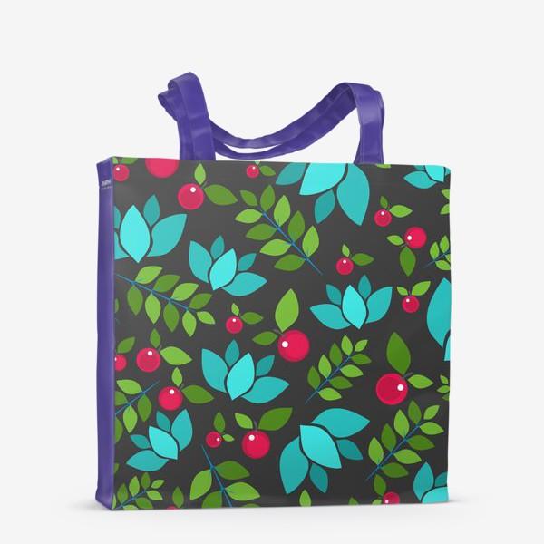 Сумка-шоппер «Цветочно-ягодный узор»