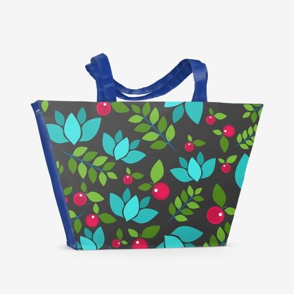 Пляжная сумка «Цветочно-ягодный узор»
