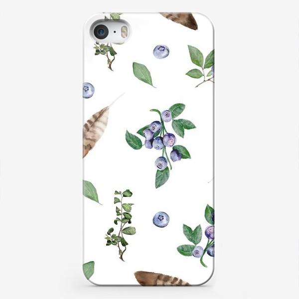 Чехол iPhone «Узор с ягодами и перьями»