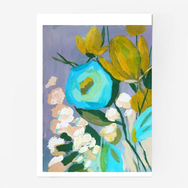 Постер «Живописные цветы, голубой и желтый»