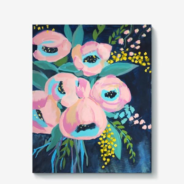 Холст «Розовые цветы на синем фоне»