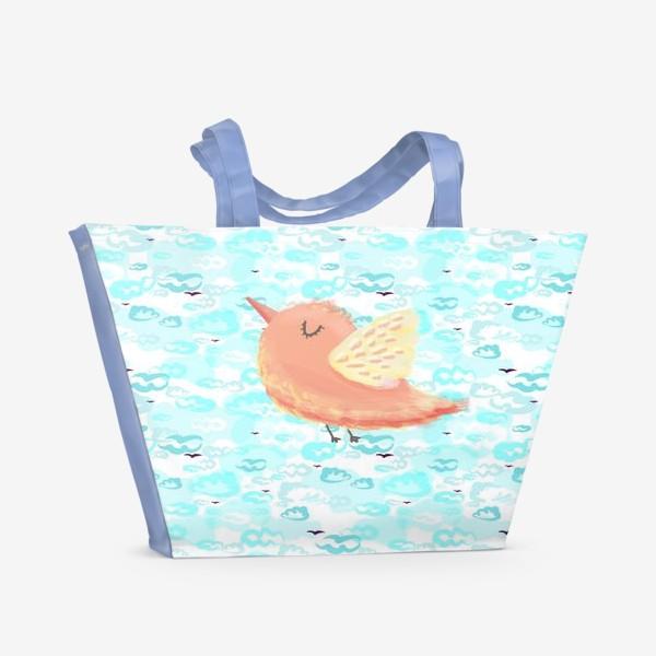 Пляжная сумка «Птичка в облаках небо_Bird_sky_cloud»