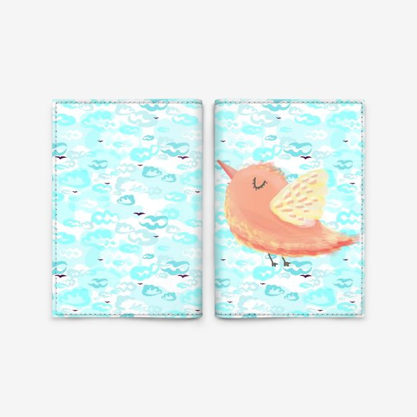 Обложка для паспорта «Птичка в облаках небо_Bird_sky_cloud»