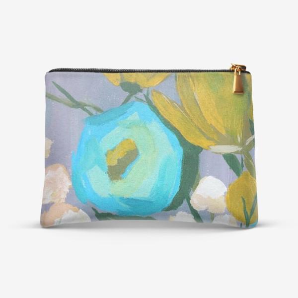 Косметичка «Живописные цветы, голубой и желтый»