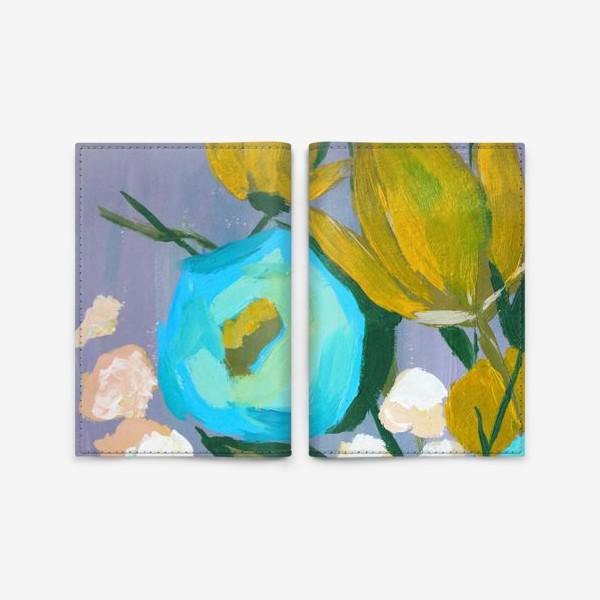 Обложка для паспорта «Живописные цветы, голубой и желтый»