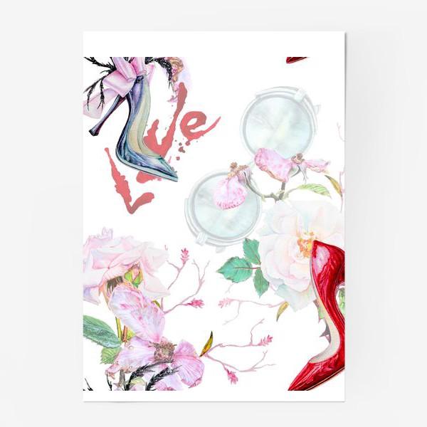 Постер «Фэшн. Женские туфли и розы»