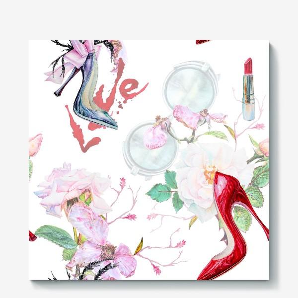 Холст «Фэшн. Женские туфли и розы»