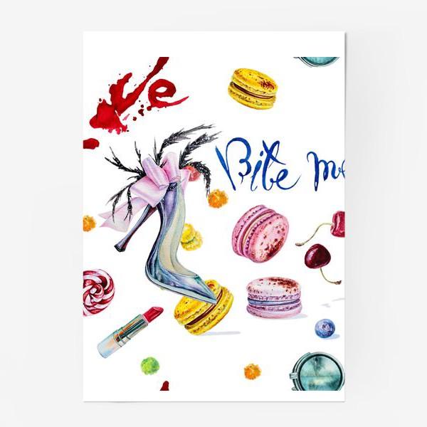 Постер «Мода, туфли и сладости»