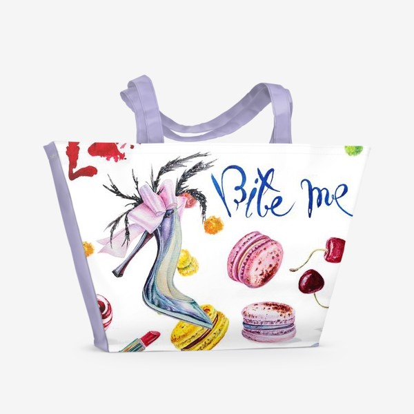 Пляжная сумка «Мода, туфли и сладости»
