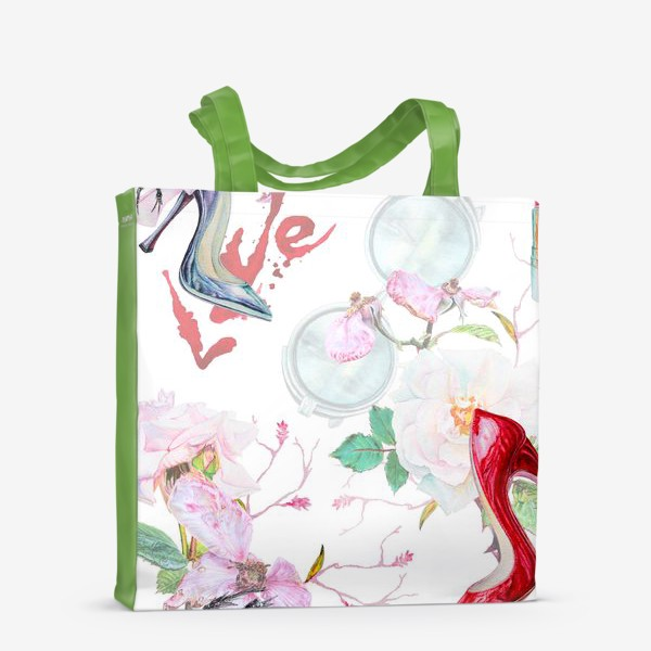 Сумка-шоппер «Фэшн. Женские туфли и розы»