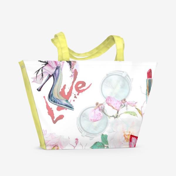 Пляжная сумка «Фэшн. Женские туфли и розы»
