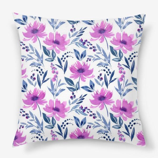Подушка «Акварельные цветы»