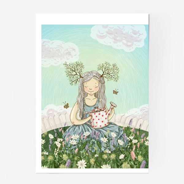 Постер «Девушка сидит среди цветов в саду с лейкой»