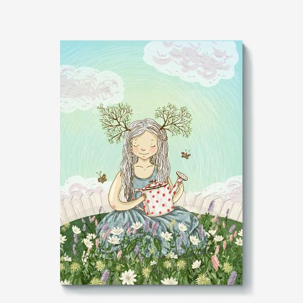 Холст «Девушка сидит среди цветов в саду с лейкой»