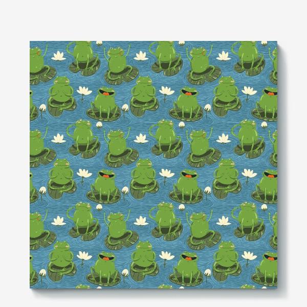 Холст «Паттерн лягушки на пруду»