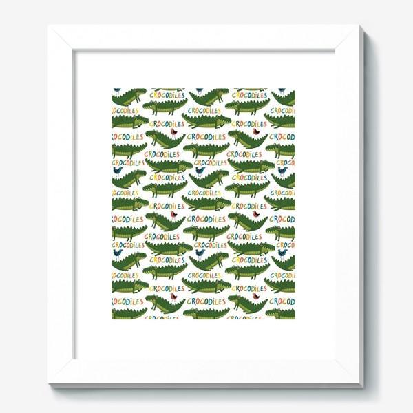 Картина «Детский паттерн с крокодилами на белом фоне»